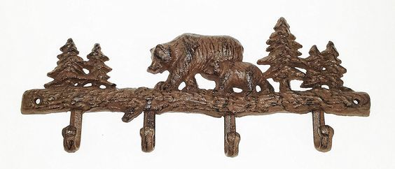 Aunt Chris' Products - Cast Iron Bear Coat Rack with 4 Hooks - Wall Hung - Brown Color Finish - Stationary Hanger - Touch Of The Outdoors To Any Room! >>> Click on the image for additional details.