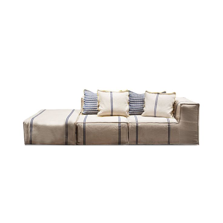 The Post Composition 3 sofa is a three-seater sofa, 270 cm long. It is composed of a one-armed chair, sized 70x100x100 cm, one chair sized 70x110x82 cm, and an ottoman sized 40x110x82 cm, enriched by 2 decorative cushions with down filling and 100% cotton cover, sized 50x50 cm. Its cover can be removed and washed at 40%. This designer sofa is made from a wooden flat bed, inner filling of polyurethane foam, and 4-cm ABS feet. The 100% cotton cover of this sofa is artisanally woven in Puglia…