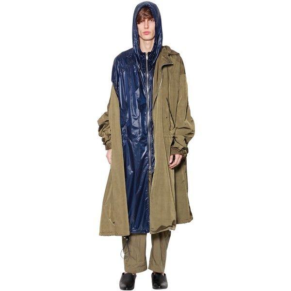 Juun.j Men Hooded Nylon Layered Parka Coat (33.799.390 IDR) ❤ liked on Polyvore featuring men's fashion, men's clothing, men's outerwear, men's coats, khaki, mens khaki parka, mens khaki jacket outerwear, mens parka coats, mens parka and mens khaki coat