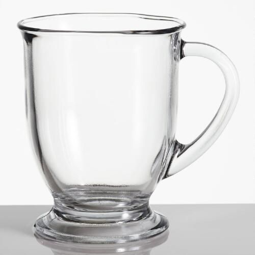 Not your average coffee mug, our clear Glass Café Mugs make enjoying your morning java a stylish experience - kind of like sitting at a Parisian café! The sloping sides lend a graceful look, while thick glass base and handle make this 16-oz. mug nice and sturdy.