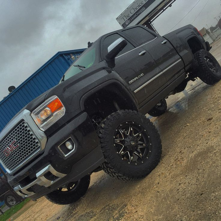 """2015 GMC Denali 2500 HD 6.6l Duramax diesel with an Allison transmission. Received stock. Returned: 6"""" Fabtech lift kit, 35x12.50R20 Nitto Trail Grapplers. On 20x9+1 Fuel Lethal series rims and amp power steps. Too see more trucks like this or to build your own, go to www.texashitch.com"""