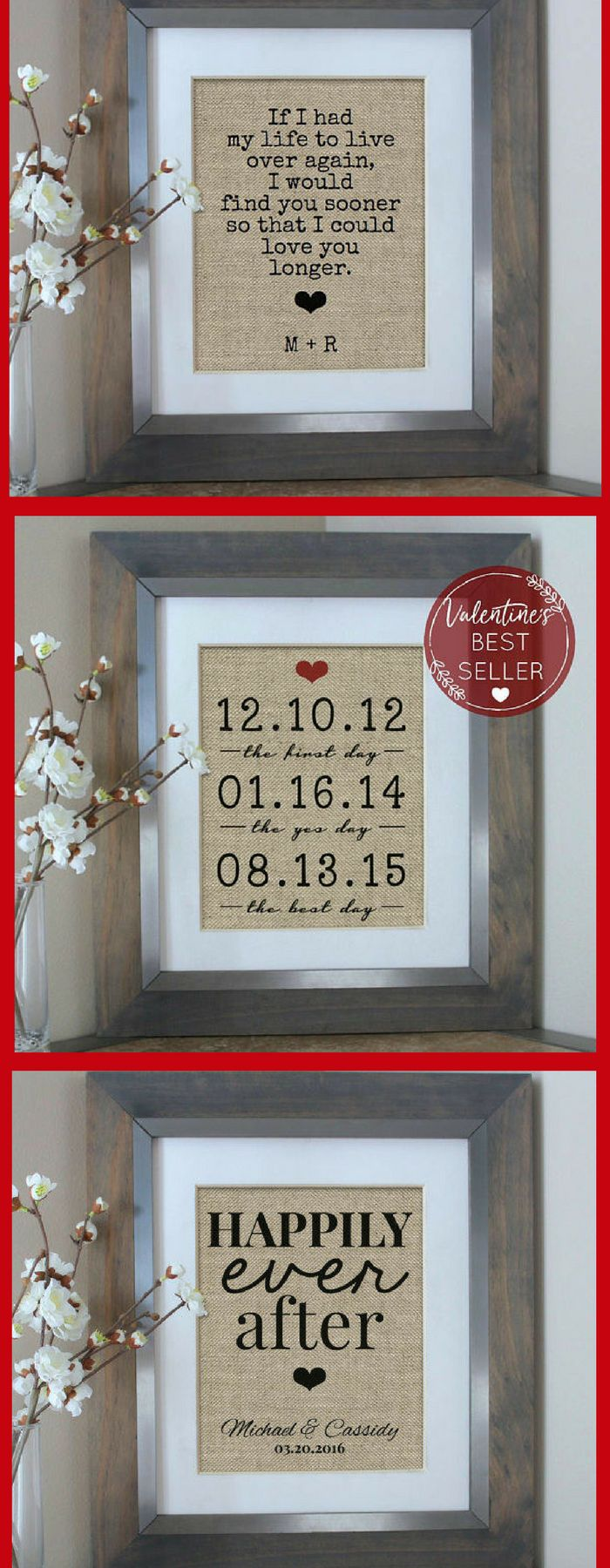 BEAUTIFUL WALL DECOR! Perfect for anniversary, wedding, Valentines Day, house warming, and so much more. I already ordered one for my fiance and I! #affiliatelink #gifts #love #relationships #wedding #valentinesday