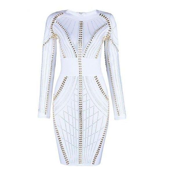 Lainey White Beaded Bandage Dress via Polyvore featuring dresses, white knee length dress, white bandage dress, beaded dresses, long sleeve dress and white see through dress