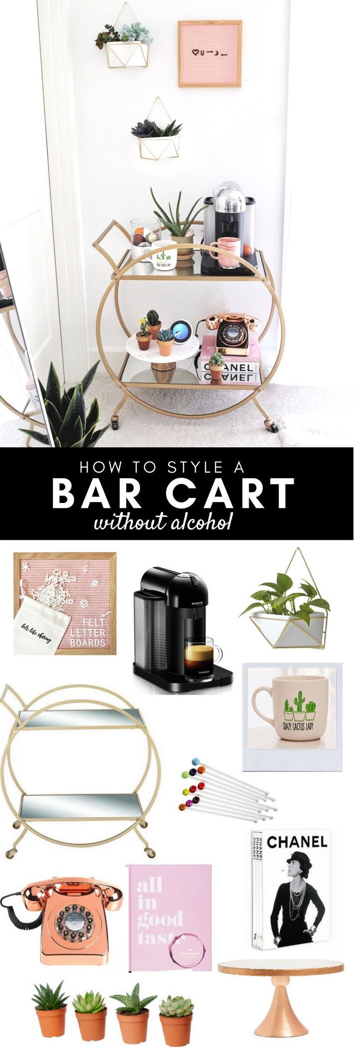 Best Bar cart decor idea | Non Alcohol bar, Bar cart styling, non traditional bar cart styling | Gypsy Tan
