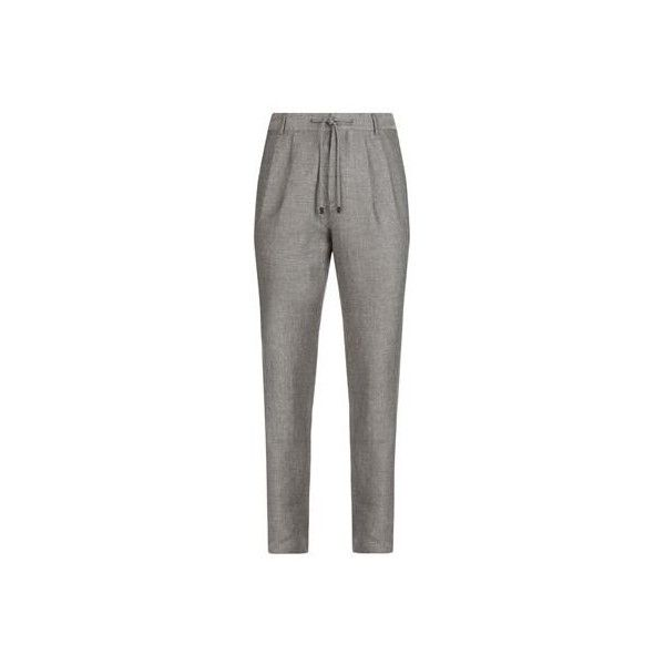 Brunello Cucinelli Hopsack Drawstring Woven Trousers ($1,025) ❤ liked on Polyvore featuring men's fashion, men's clothing, men's pants, men's casual pants, mens woven pants, mens white pants, mens drawstring pants, mens pleated pants and mens white linen drawstring pants