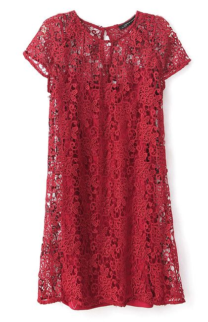 Wine Red Short Sleeve Crochet Lace Dress with Camisole - Sheinside.com