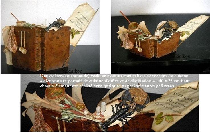 Oeuvre commande réalisée avec livre de cuisine du 18è siècle.
