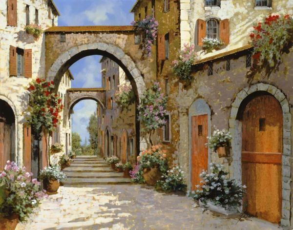 Guido Borelli - Le Porte Rosse Sulla Strada - Fine Art Print