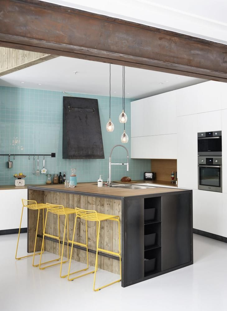 Sometimes a simple #kitchen can really open up the space. We also love the wood beam on the ceiling. www.budgetbathandkitchen.com
