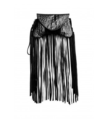 Micro clutch bag with croc print pu leather and long suede fringes on outline.  http://shop.mangano.com/en/bags/16433-borsa-florance-bag-frang-ne.html  #fashion #bag
