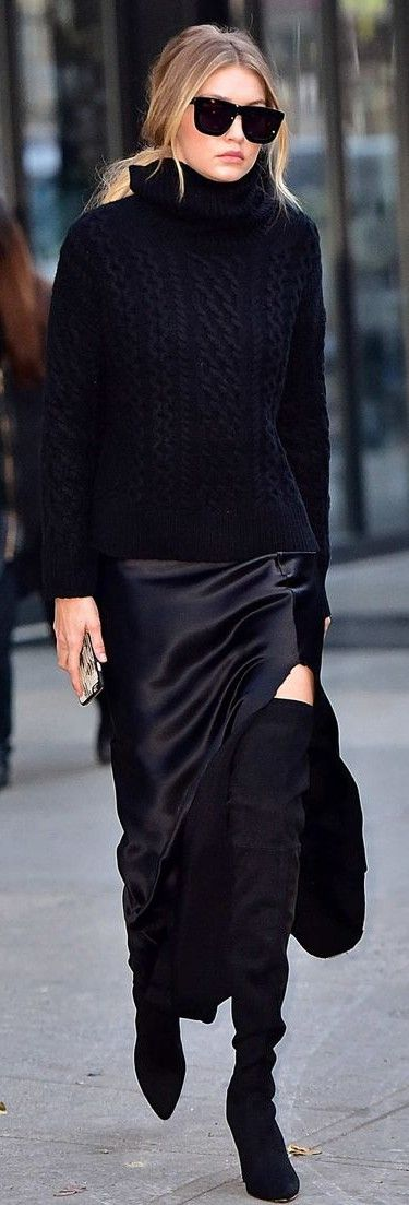 all black. high boots. (This is really my style per se, but it shows nicely how textures can liven up an all-black outfit.)
