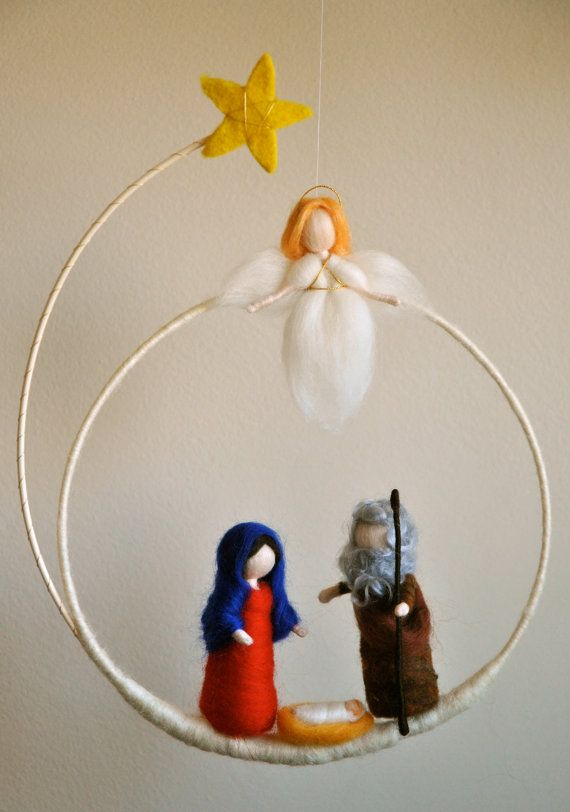 Christmas Wreath Waldorf inspired needle felted : Marie,Joseph and the baby with an angel (made to order)
