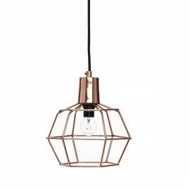 Hubsch koperkleurige hanglamp, rechthoekig