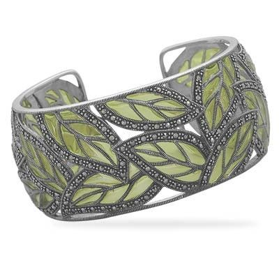 $249 Marcasite and green epoxy leaves cuff bracelet