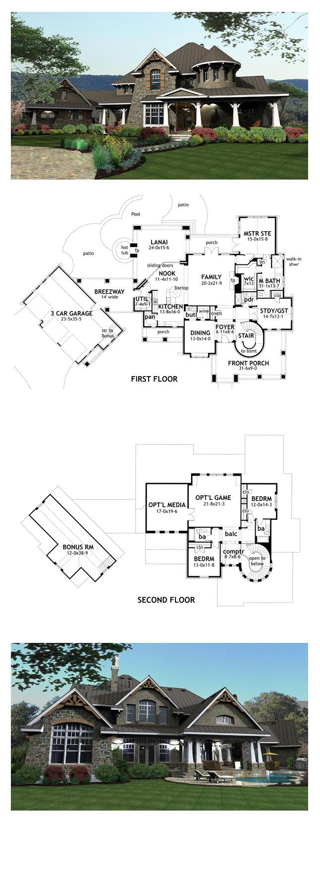 Tuscan House Plan 65872   Total Living Area: 3349 sq. ft., 4 bedrooms & 4 bathrooms. #houseplan #tuscanstyle