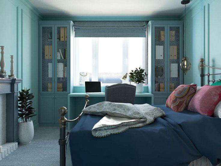 Mentazöld falak a hálószobában lila kék szürke - 38m2-es lakás különleges színpalettával