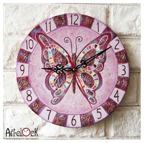The Lavender Butterfly Wall Clock Home Decor for by ArtClock, $40.00