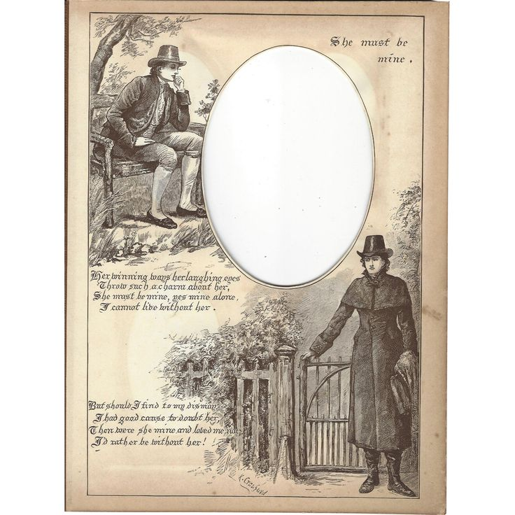 Page from Victorian Photo Album, Sepia MonoChrome Illustration, 'She Must Be Mine' from Judy's Lovelies Exclusively on Ruby Lane