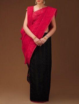 Black-Red Dhakai Jamdani Cotton Saree