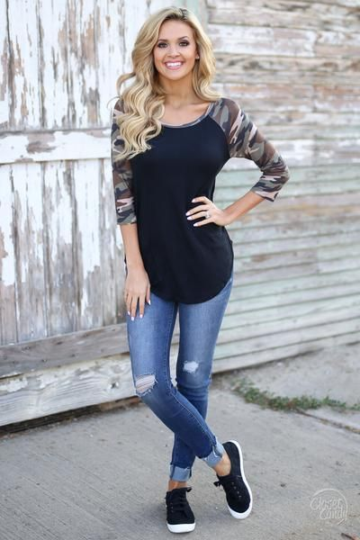 Step Up Your Game Camo Top - camo raglan top, cute fall outfit, front, Closet Candy Boutique