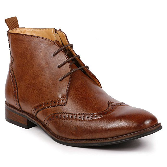 Metrocharm MC116 Men's Lace Up Perforated Wing Tip Formal Dress Ankle Boots (Brown)