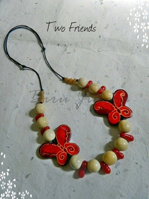 Gudho beads and wooden butterfly beads collaboration. Simple but lovely