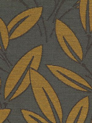 Perfect Yellow Grey Fabric   Modern Grey Fabric With Leaves   Artistic Fabric Grey  Yellow
