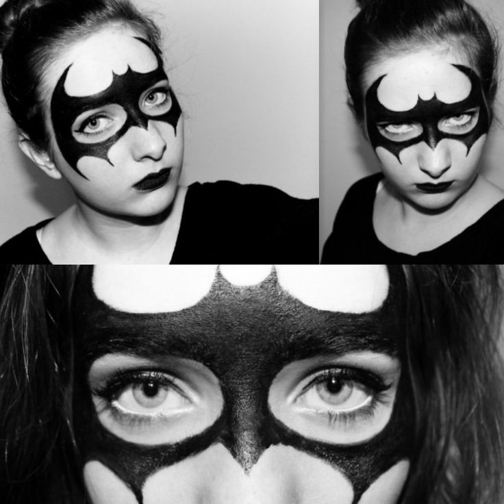 batman | face painting | easy make up | carnival | halloween || instagram: _anninymous_