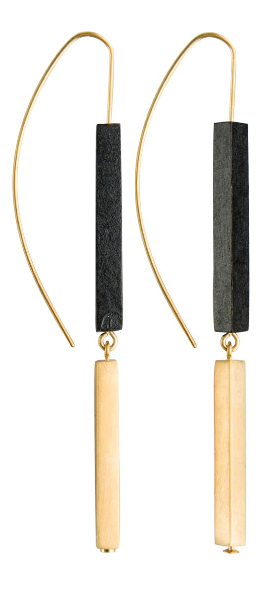 Nastya collection. Designed by Joid'art Lab. Slim rectangular sticks in coloured wood, metal or silver, juxtaposed upon each other. 2 finishes: matt rhodium-plated silver with blue/brown/mustard coloured wood; matt gold-plated metal with white/grey/black coloured wood. #arracades #pendientes #earrings #joidartSS14 #joidart #barcelona #joidartsunnydays #contemporaryjewelry #contemporaryjewellery