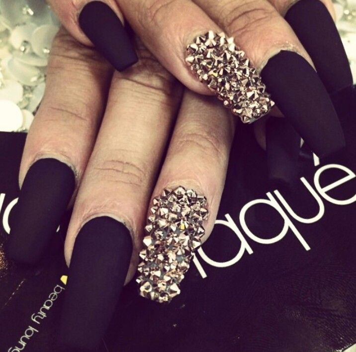 Black Stiletto Nails With Rhinestones Matte black nails with...