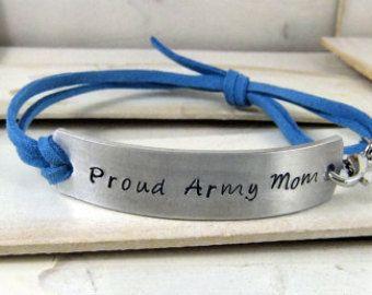 Proud Army Mom, Army Mom Jewelry, Military Jewelry, Personalized Bracelet, Custom Stamped Bracelet, Gift For Mom