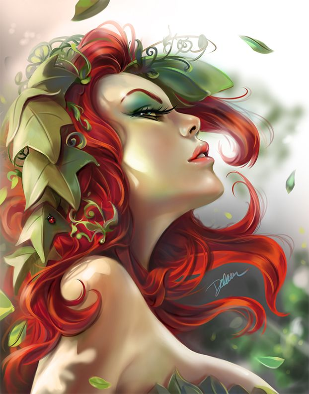 Poison Ivy Pinup Portrait - FanArt by Cris Delara | Portrait | 2D | CGSociety - Poison Ivy Pinup Portrait - FanArt by Cris Delara  2D > Portrait - posted 9th March 2014  This image was created and painted using Manga Studio 5. I just used Photoshop to balance the temperature of final colours and it was very fun. :)