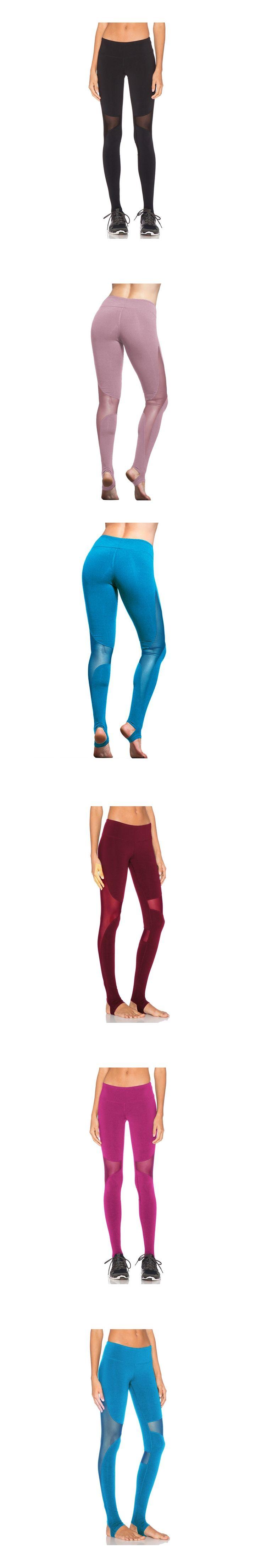 Women Sport Fitness Leggings High Rise Elastic Gym Capris Mesh Insert Tight Leggings Workout Tights Yoga Pants for Women