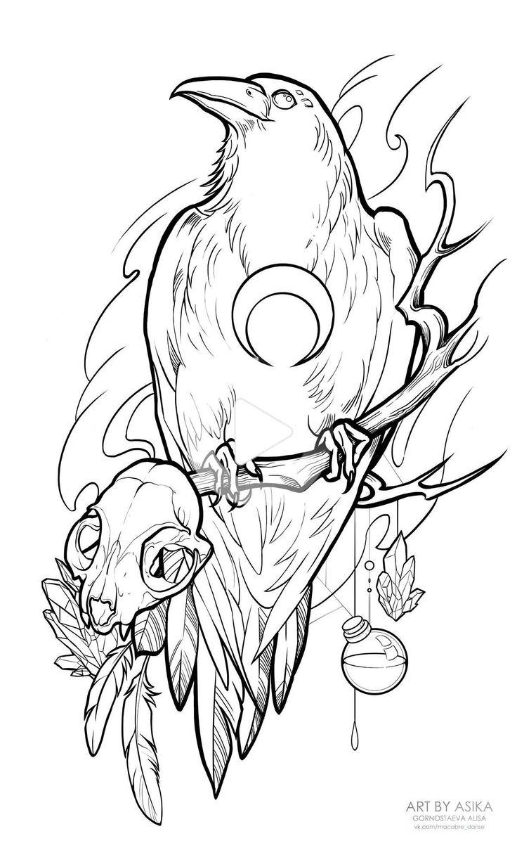 page coloriage ⚜ crow raven corbeau oiseau bird in 2020   Crow tattoo design, Spooky tattoos ...