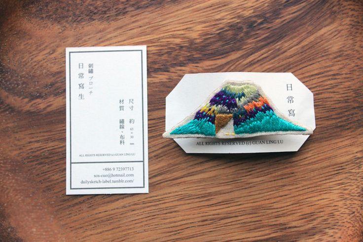 山形刺繡胸針(刺繡ブローチ)尺寸:約65×30mmsold out 此款售出 接受訂製