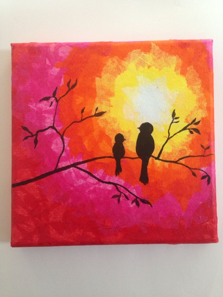 Sun set tissue paper canvas artwork  Pacey Art in pArty