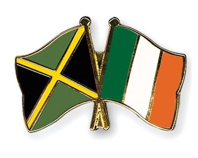 AnimatED JAMAICAN IRISH   Friendship Pins with the flags of Jamaica and Ireland