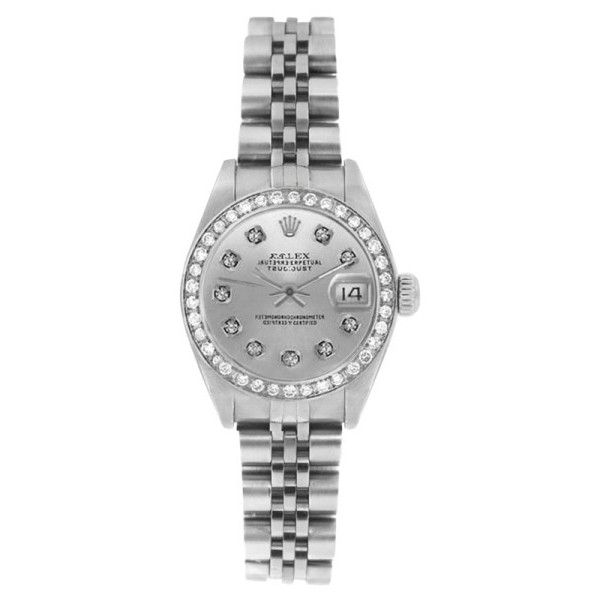 Pre-owned Rolex Datejust 6916 Stainless Steel Jubilee Silver Diamond... ($3,395) ❤ liked on Polyvore featuring jewelry, watches, stretch watches, silver jewelry, silver jewellery, pre owned watches and mint green watches