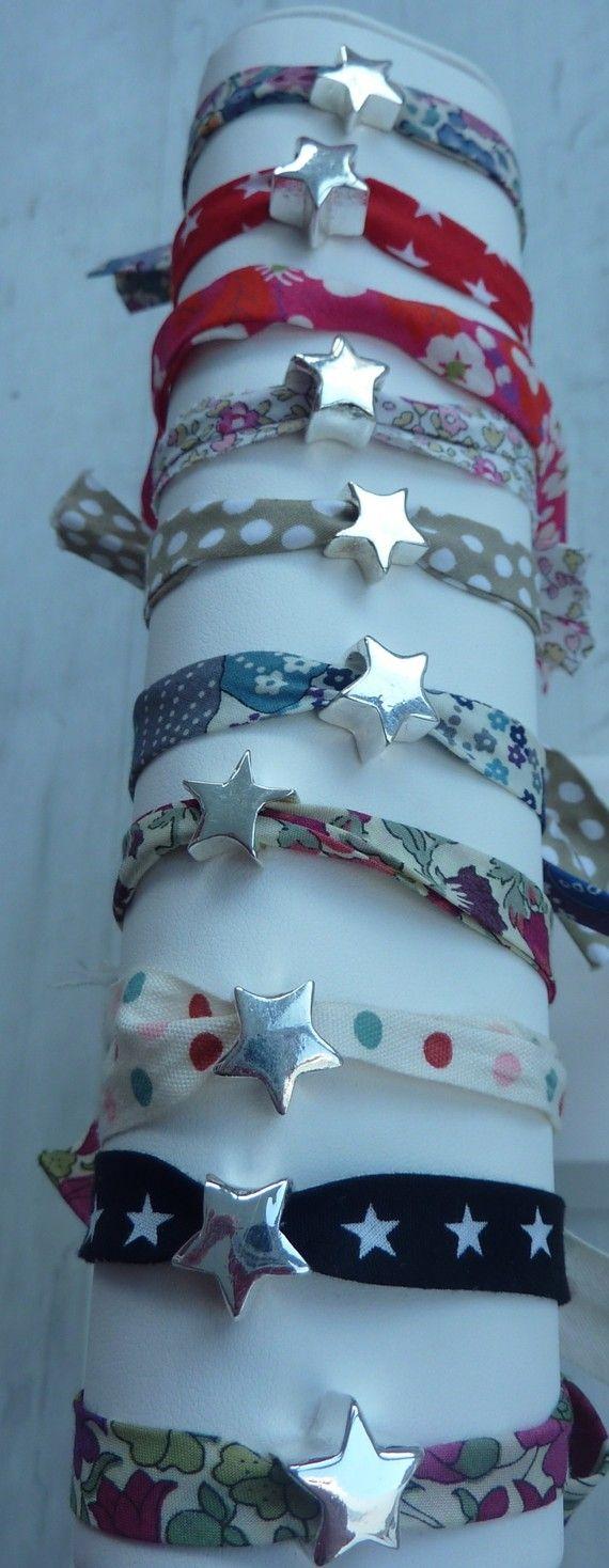 """Bracelet étoile tissu liberty (cadeau fin d'année """"merci maitresse"""")"""
