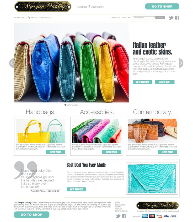 Webdesign concept made for Morgan Oakley shop
