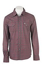 Garth Brooks Sevens by Cinch Men's Black and Red Medallion Print L/S Western Snap Shirt