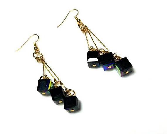 extra long black cube gold earrings hypoallergenic nickel free earrings modern everyday statement jewelry beaded dangle drop earrings    Jewels Inspire on Etsy offers Handmade Jewelry Designs, Artisan Jewelry, Swarovski Jewelry, Gemstone Jewelry, Crystal Jewelry, Freshwater Pearl Jewelry, Glass Bead Jewelry, Beaded Jewelry, Handmade Necklaces, Handmade Bracelets, Handmade Earrings, (OOAK) One Of A Kind Jewelry Pieces and more!      All Jewels Inspire artisan jewelry is handmade and created…