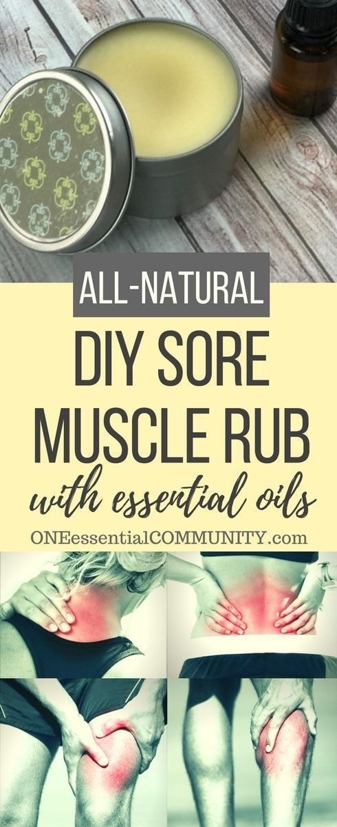 Homemade essential oil sore muscle rub for temporary relief of achy or overworked muscles, tense neck and shoulders, simple backaches, and occasional muscle fatigue from workouts, housework, gardening, and long days. It's deep-penetrating, works quickly, and smells sooooo much better than the store bought alternatives.