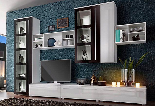 Wandmeubel (7-dlg) House furniture and House - moderner wohnzimmerschrank mit glastüren und led beleuchtung