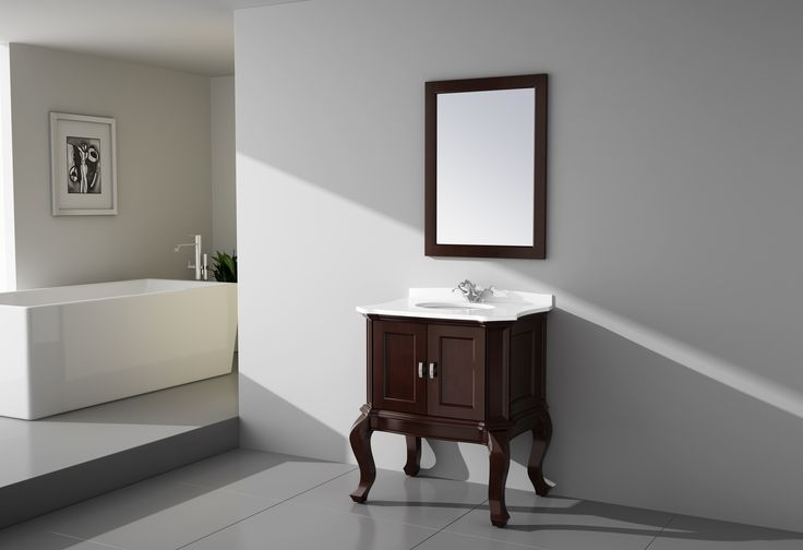 """Virta Tempo Freestanding 30"""" Vanity in Walnut. The Tempo bathroom vanity collection is a beautiful contrast of shaker style with a graceful Queen Anne touch characterized by its most popular feature intricately carved cabriole legs. The long elegant vanity legs create an open, airy style giving a clean, spacious appearance. The vanity is finished in espresso or walnut."""