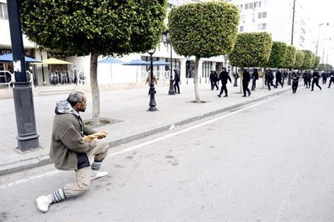 Image during bread riots, Tunisian revolution.
