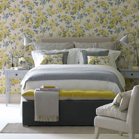 Don't like the wallpaper...but the rest is nice.  Floral yellow bedroom