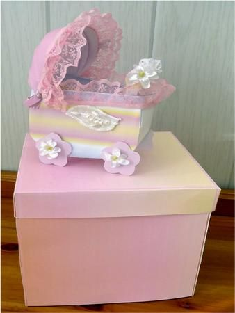 pink pram and box kit on Craftsuprint designed by Cynthia Berridge - pink pram and box kit I have included a photo instructions in the kit have made a video tutorial on making the baby pram on the forum - Now available for download!