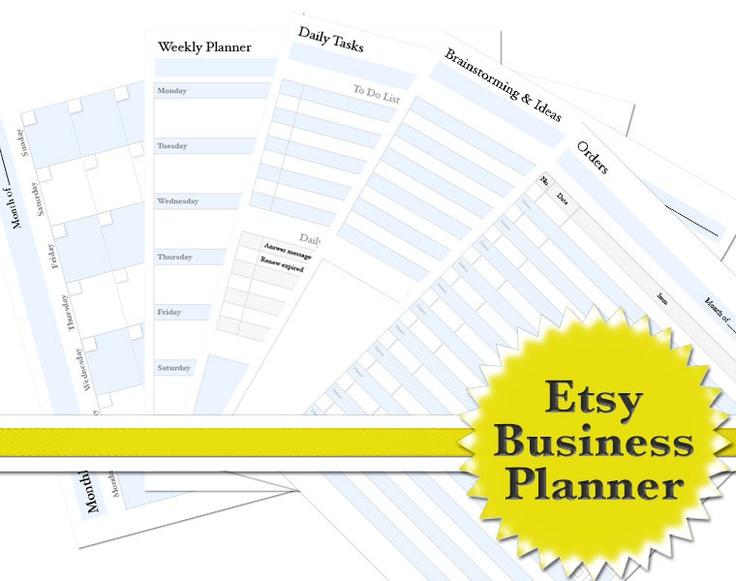 Business Planner Business Organizer, Etsy Shop, Printable PDF.