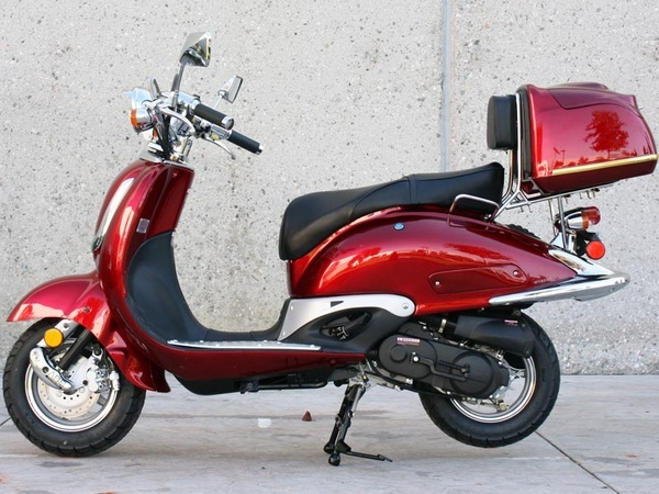 NEW Sunny Powersports MC-D150N RED Gas Luna 150cc Moped Scooter w/ Trunk , $1099